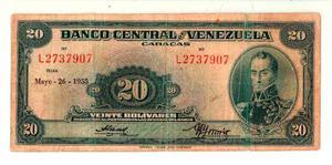 Escaso 20 Bolivares  L7