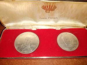 Estuche Con Monedas De Plata Venezuela Conmemorativas