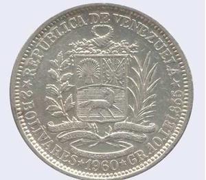 Moneda De Plata 2 Bolivares Año