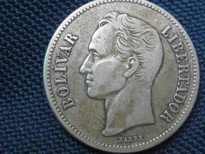 Moneda De Plata. 2 Bolívares. Año