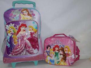 Bolso Escolar Con Ruedas Morral Lonchera Princesas Disney