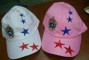 Gorra Tricolor De Venezuela Blanca Y Rosada