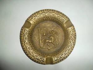 Cenicero Antiguo De Bronce Macizo Escudo De Venezuela Del 60