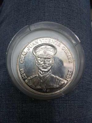 Moneda De Plata Ley  De Gral Juan Vicente Gomez