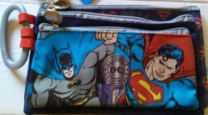 Set De 3 Cartucheras De Batman, Superman, Flash. Original