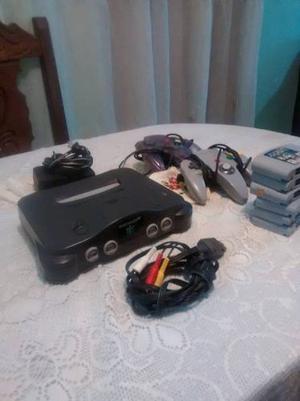 Nintendo 64 En Buen Estado Con 6 Juegos Con Mario64 Y Kart