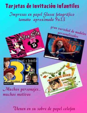 Tarjetas De Invitacion Infantiles Personalizadas Posot Class
