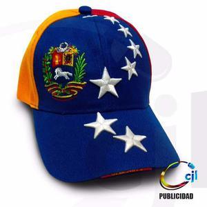 Gorra Tricolor Estrellas En Relieve Dice Venezuela En Visera