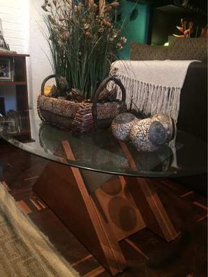 Juego De Mesas Modernas (madera Con Vidrio)
