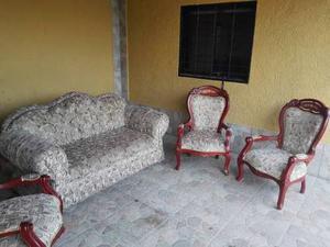Juego De Recibo Tallado (sofa Y Tres Poltronas)