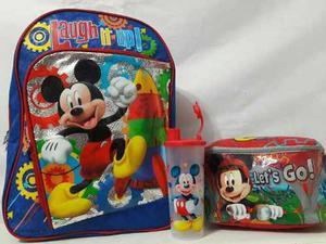 Combo Morral Bolso Escolar Mickey Disney Lonchera Vaso Niño