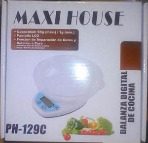 Balanza Digital De Cocina Peso 5 Kg Con Bandeja Maxi House