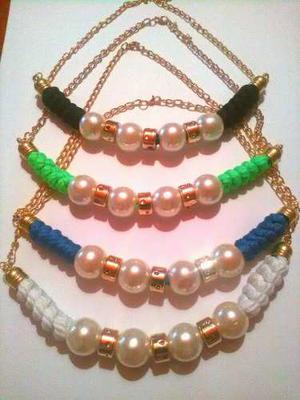 596b59588f43 Collares bellos de cordon de algodón con perlas
