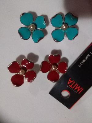 Imita Zarcillos Flor Color Azul Turquesa Solamante
