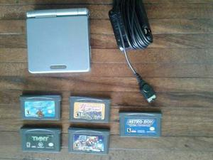 Game Boy Advance Sp Cinco Juegos Y Cargador Todo Original