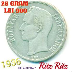 Moneda de Plata Bolívar  Gram 25 Lei