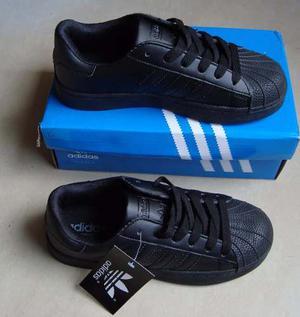 Kp3 Zapatos adidas Superstar Todo Negro All Black Para