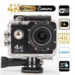 Camara Video Acción 4k, Wifi, 16mpx, Sumergible 30 Mts +