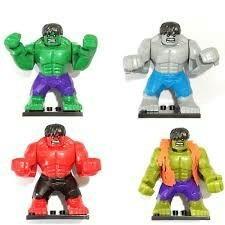 Figuras Lego Armable,hulk Grande Verde,rojo,azul Y Gris