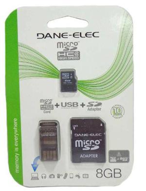 Memoria Micro Sd Dane-elec 8gb 3en1 Clase 10 Usb Adaptador