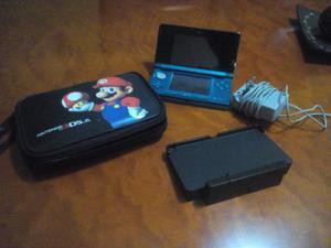 Nintendo 3ds Azul Turquesa + Cargador + Estuche De Mario