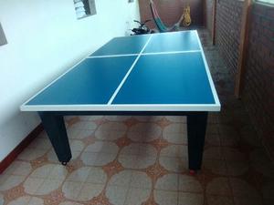 Mesa De Ping Pong Con Base Fija De Madera