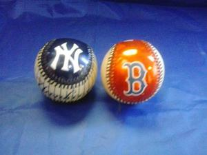 Pelota De Colección Boston Red Sox Y New York Yankees