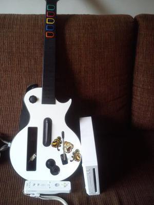 Consola Wii Con Sus Accesorios Y Guitarra