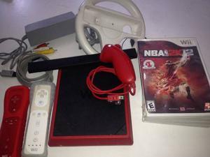 Nintendo Mini Wii Rojo Con Juegos Dos Controles Y Volante