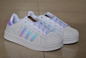 Kp3 Zapatos adidas Superstar Tornasol Niñas Kids 25 Al 35