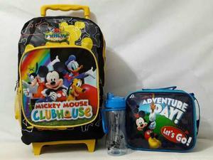 Maleta Bolso Morral Escolar Mickey Disney Lonchera Termo