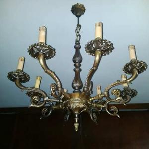 Lámpara Antigua De Bronce 8 Luces Colgante