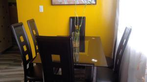 Comedor bipiel 6 sillas vidrio templado posot class for Comedor vidrio 6 sillas