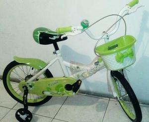 Bicicleta Para Niña Rin 16 + Cesta Y Rueditas De Inicio