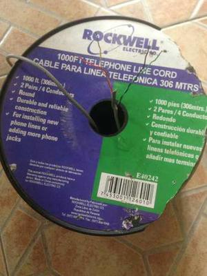 Cable Gris Telefonico 2 Pares Rollo 305 Mts