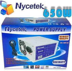 Fuente De Poder Nycetek 650w 24pin 120v 26amp Selladas Nueva