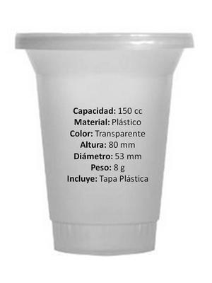CAJA DE TINAS O VASOS PLASTICOS PARA POSTRES, YOGURT,