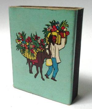 Coleccionable Caja De Fósforos Vintage Vacía Flores