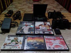 Playstation 2 Sony Original, 2 Controles, 5 Juegos