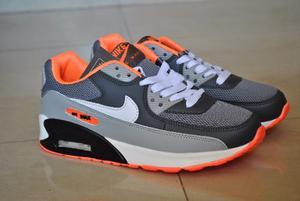 Kp3 Zapatos Nike Air Max 90 Gris / Naranja Del 35 Al 40