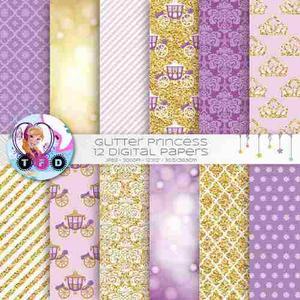 Kit Imprimible Princesa Dorados Lila Carroza Tiara Glitter
