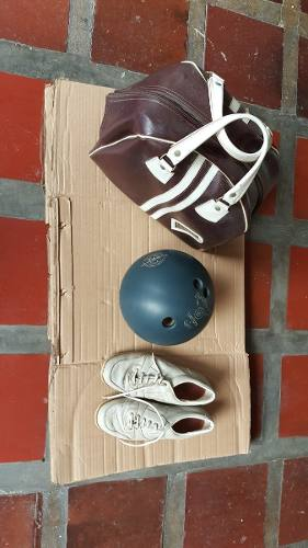 Bola De Bowling Con Par De Zapatos Y Su Estuche