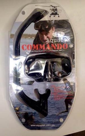 Careta Y Snorkel Aquatek Profesional Comando Elite