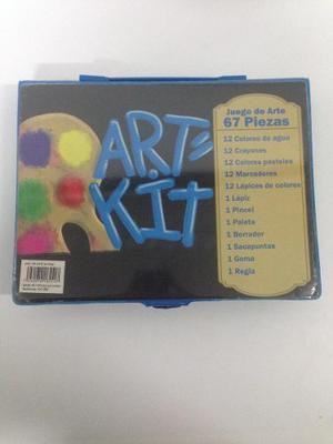 Kit De Arte Para Niños Color Azul Pinturas, Marcadores Etc.