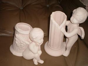 Angeles De Ceramica En Bizcocho