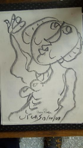 Dibujo De Oswaldo Vigas Sobre Tela