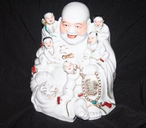 Espectacular Buda Con Niños Porcelana Feng Shui