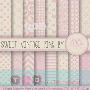 Kit Imprimible Fondos Vintage Shabby Rosa Papel Digital Chic