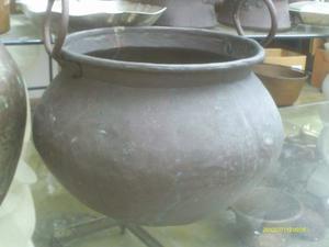 Matero De Cobre Antiguo En Forma De Caldero Sin Fondo Buen D