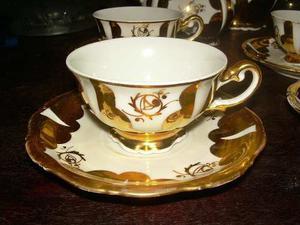 Taza Y Plato De Porcelana Cb Bavaria Germany Con Dibujo Oro